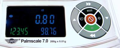 4. Der Umrechnungsfaktor lässt sich durch Drücken der M-Taste speichern. Er bleibt dann eingestellt, wenn die Waage zwischenzeitlich ausgeschaltet wurde.