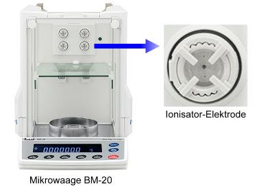 Mikrowaage A&D BM mit Ionisator gegen elektrostatische Aufladungen