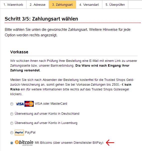 Screenshot Auswahl Zahlungsart im Shop