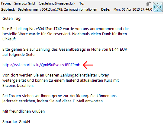 Screenshot E-Mail mit Zahlungsinformationen