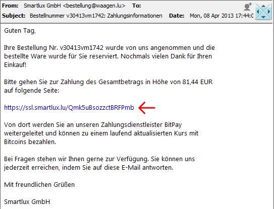 Screenshot E-Mail mit Zahlungsinformationen