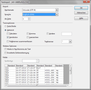 CSV-Import in LibreOffice CALC