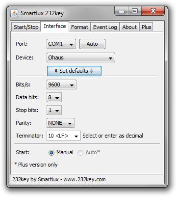 Software 232key zur Datenerfassung von Waagen V1.04