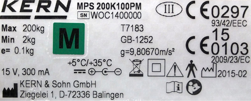 Geeichte Waage Kern MPS 200K100PM