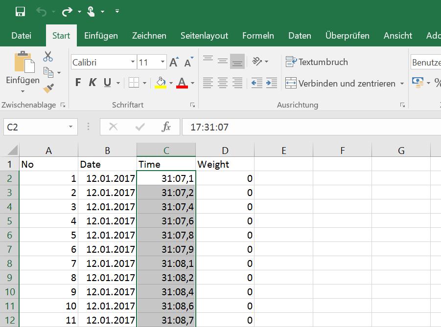 Gewicht und Zeit in Excel: Zeit falsch dargestellt