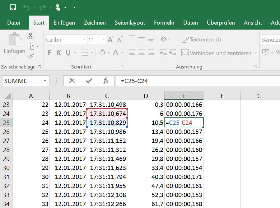 Gewicht und Zeit in Excel mit Angabe der Millisekunden