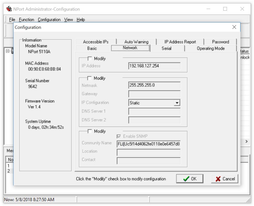 Moxa NPort 5110A Netzwerkeinstellungen (Standardwerte)