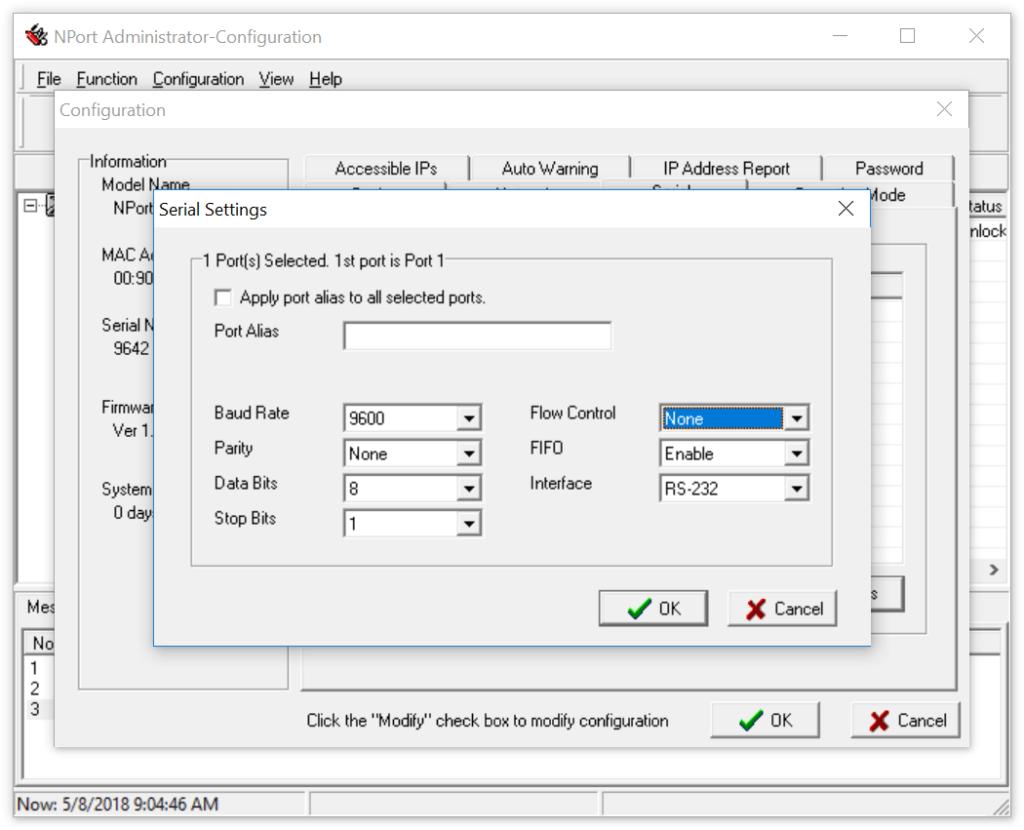 NPort Administrator: Einstellungen serielle Schnittstelle (RS-232)
