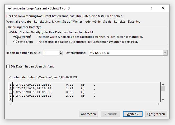 Excel Textkonvertierungs-Assistent Schritt 1
