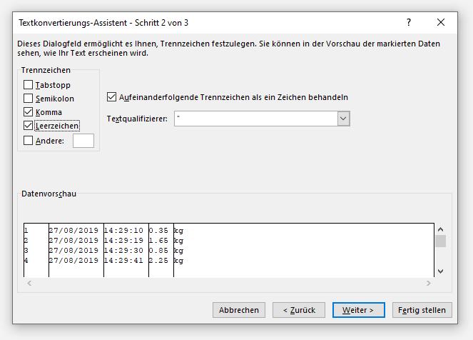 Excel Textkonvertierungs-Assistent Schritt 2