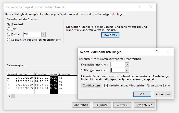 Excel Textkonvertierungs-Assistent Schritt 3