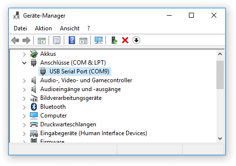 Windows Gerätemanager COM Port