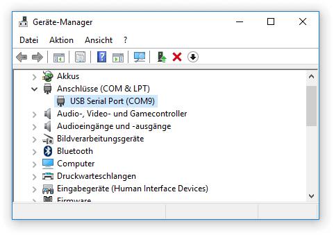 Windows Gerätemanager COM Port
