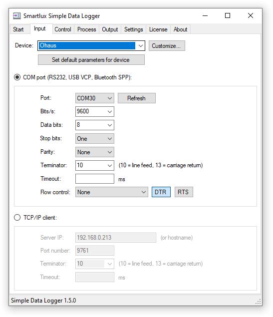 Simple Data Logger Input Tab