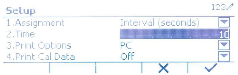 Intervall für Übertragung des Gewichts