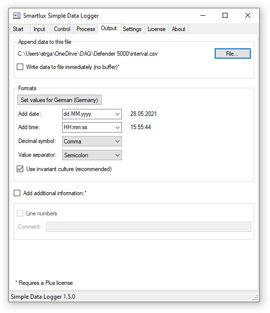 Simple Data Logger Output Tab